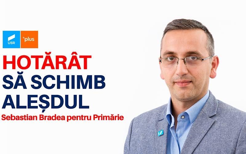 Sebastian Bradea candidatul Alianței USR PLUS pentru Primăria Orașului Aleșd