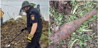 Bombă de artilerie descoperită găsită de un bărbat în timp ce efectua lucrări agricole