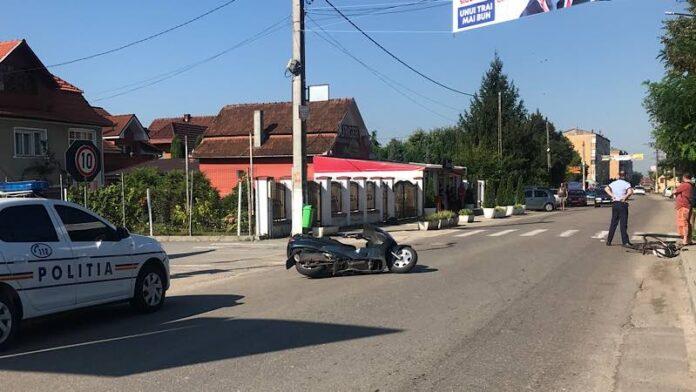 accident între o bicicletă și un scuter în Aleșd