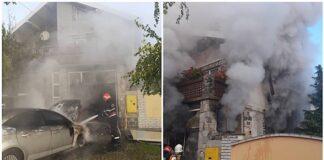 Mașină în flăcări în garajul unui imobil din SALONTA