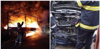Două autovehicule au fost cuprinse de flăcări