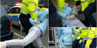 Femeie încătușată de polițiștii din Oradea. A refuzat să se legitimeze și a încercat să fugă