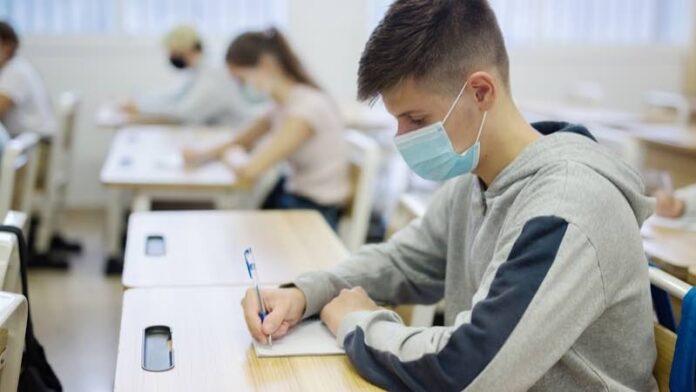 Elevi cu mască