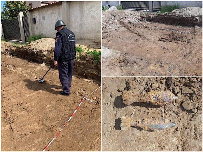 Două bombe de artilerie descoperite pe o stradă din Oradea
