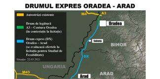 Drumul Expres Oradea – Arad Hartă